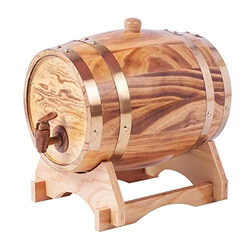 GJX Decanter per Vino Oak Invecchiamento Botti, Whisky Barrel Dispenser del Vino della Casa della Benna Whisky Barile for Vino, Liquori, Birra, Liquori, 3L Decanter in Vetro per Whisky