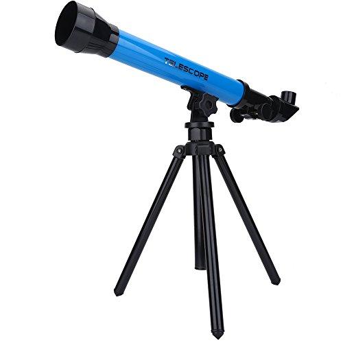 Tosuny astronomische telescoop voor kinderen, draagbare telescoop met een opvouwbaar en verstelbaar statief, 20x, 40x, 60x oculairvergroting voor hemelobservatie en landschapsobservatie (blauw)