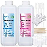 Epoxy Resin Clear Crystal Coating Kit 40oz - 2 Part Casting Resin for Art, Craft, Jewelry Making, River Tables, Bonus Gloves, Measuring Cup, wooden sticks and Dropper