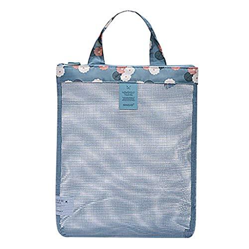 Colorida bolsa de playa para niños, bolsa de almacenamiento de red, se puede utilizar para guardar conchas y pequeños animales marinos.