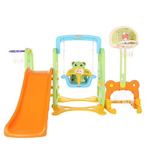 Xuways 5 in 1 Kids Indoor and Outdoor Slide Swing and Basketball Football Baseball Set Sports Equipment Learning Toys Gift Toys for Kids Boys Girls for Indoor and Backyard