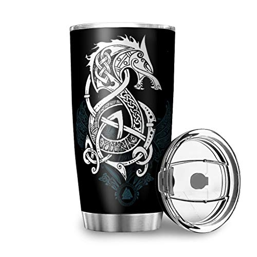 Nanlili Stainless Steel Tumbler Dual-Wall Vacuum Durable Travel Cup with Closing Lid 20 Ounces (Viking Wolf) White 20oz