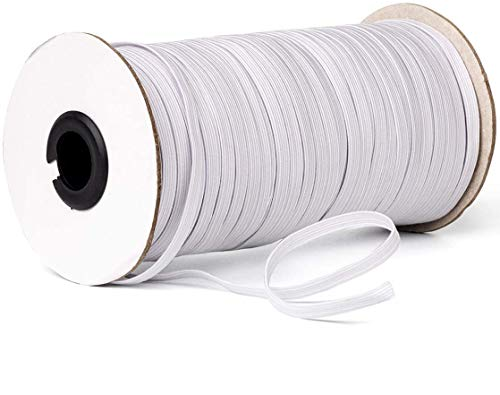 Elastic Band,Shed Protector 100 Yard 1/4' Inch Sewing Elastic Band/Rope/Cord/String for Handmade Making, Spool Roll, Stretch, Craft Elastic(White)