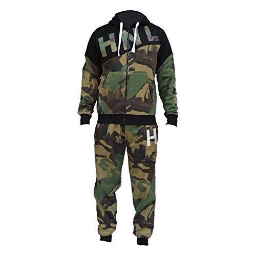 HNL Projectie Nieuwe Mens Leger Camo Camouflage Tracksuit Fleece Rits Hoodie Top Sweat Pak Broek Joggen Bodem Bovenkleding Hoody