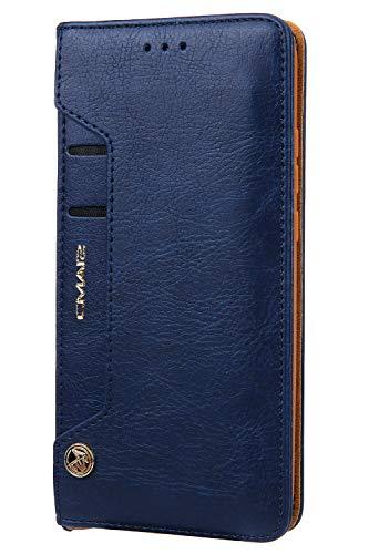 Handytasche Compatible with Huawei P30 Pro,Kunst Leder Case Handyhülle Flip Case mit Kredit Karten Hülle Geldklammer Unsichtbar Magnet und Stand Funktion Schutzhülle,Blau