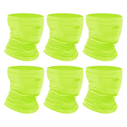 [6-Pack] Neck Gaiter Scarf, Breathable Bandana Face Bandana Cover Cooling Neck Gaiter for Men Women Cycling Hiking Fishing. Neon Green