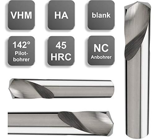 VHM NC Anbohrer, 142°, Blank, 45 HRC, HA-Schaft Ø 3/4 / 5/6 / 8/10 / 12 mm, Größe: 3,0 x 8 x 32 - d2=3 mm
