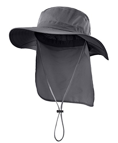 Home Prefer Outdoor UPF50+ Mesh Sun Hat Wide Brim Fishing Hat with Neck Flap (Dark Gray)