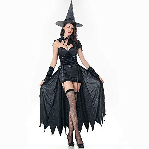 ZHOUZJ Disfraz de Novia Fantasma de Halloween Mujer, Disfraz de Bruja Vampiro Vestido Adulto Disfraces Cosplay,Negro