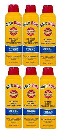 PACK OF 6 - Gold Bond No Mess Body Powder Spray, Fresh Scent, 7oz