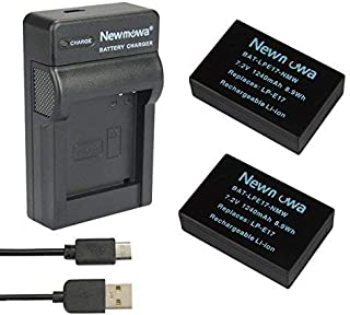 Newmowa LP-E17 Batería (2-Pack) y Kit Cargador Micro USB portátil para Canon EOS M3 M5 M6 200D 250D 750D 760D 800D Rebel SL3 T6i T6s 8000D Kiss X8i