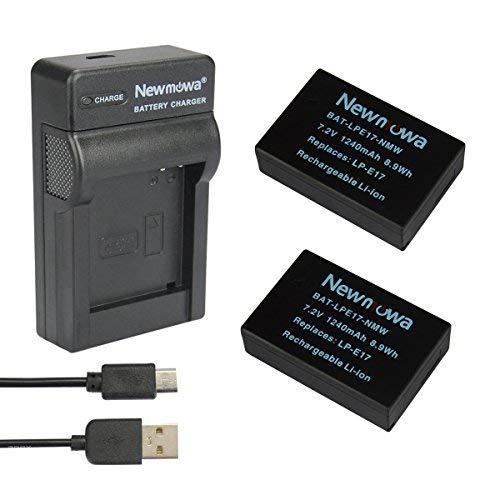 Newmowa LP-E17 Batería 2-Pack Kit Cargador Micro