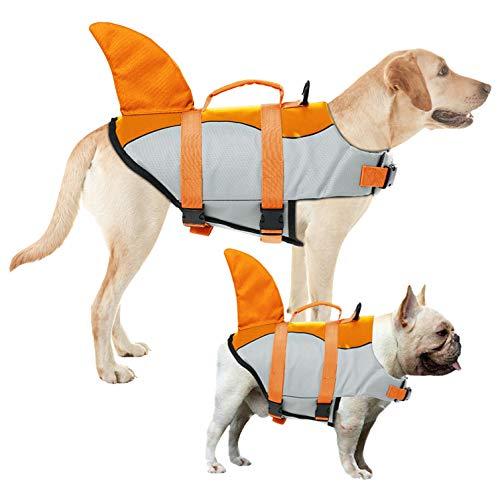 AOFITEE Dog Life Jacket Pet Safety Vest, Adjustable Dog Lifesaver Ripstop Pet Life Preserver with Rescue Handle for Small Medium and Large Dogs, 5 Sizes (XS, Orange Shark)