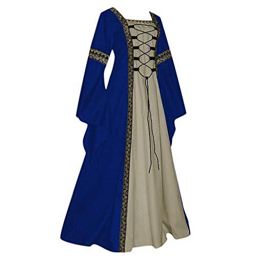 HuaCat Damen Mittelalter Kleid Renaissance Style Solid Color Lace Up Flare Ärmel Vintage Short Petal Mittelalterlichen Cosplay Trompetenärmel Party Kostüm Kleidung Partykleider (XXXXXL, Blau-02)