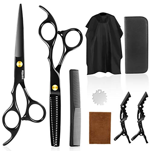 Hair Cutting Scissors Shear Kit 9 PCS, Peradix Professional Haircut Shears with Sharp Stainless Scissors, Grooming Thinning Shears, Hair Razor Comb, Clips, Cape, Hairdressing Kit for Barber Salon Home