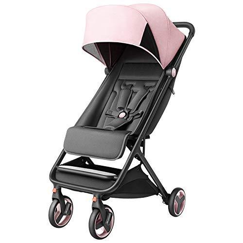 WJSW Kinderwagen Lichtregenschirm Karren Baby kann sitzen liegend Falten tragbaren Kinderwagen kann im Flugzeug Sein, Pink