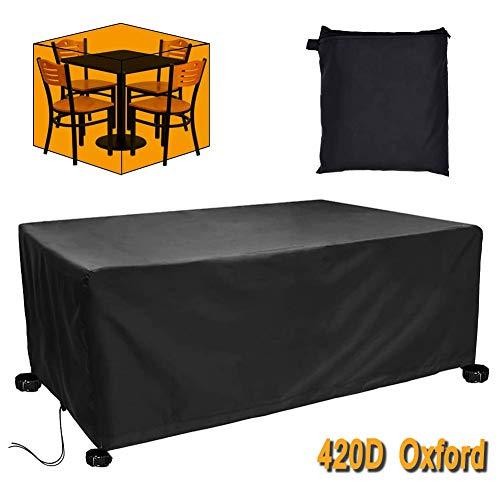 HHMH Funda para Muebles de Jardín Impermeable, Funda Protectora para Mesa Exterior, Funda Muebles Impermeable Resistente al Polvo Anti-UV, 420D Oxford, Cuadrada, Negro,250X250X90cm