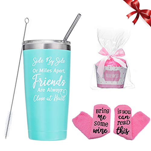 Comfook FriendsGifts Wine Tumbler Fun Birthday Gifts Women Gifts 20oz Mint Green Insulated Stainless Steel Wine Tumbler with Straws Brushes and Socks