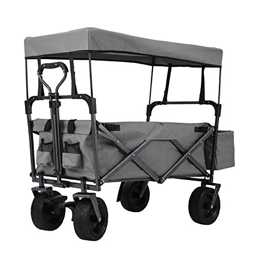 EXTEC Folding Stroller Wagon Collapsible with Canopy with Brakes Outdoor Sport Baby Trolley Garden Utility Shopping Travel Beach Wagon/Cart - Easy Setup NO Tool Needed (Grey)