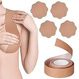 ANBETSet nastro adesivo per seno e set di 2 copricapezzoli per petalo, nastro adesivo seno rialzato con petali invisibili in silicone, nastro traspirante fai-da-te per seno grande (tutte le coppe)