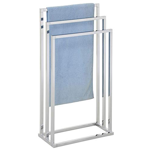 IDIMEX Porte-Serviettes sur Pied KUNO Portant pour vêtements et Linge de Salle de Bain avec 3 Niveaux d étendage sur différentes hauteurs, Structure en métal chromé