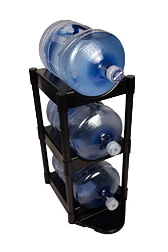 Bottle Buddy Water Racks - 3 and 5 Gallon Bottles I 3-Tray Jug Storage System I Floor Protector for Drips I Free-Standing Organizer for Home, Office, Kitchen, Warehouse I Black