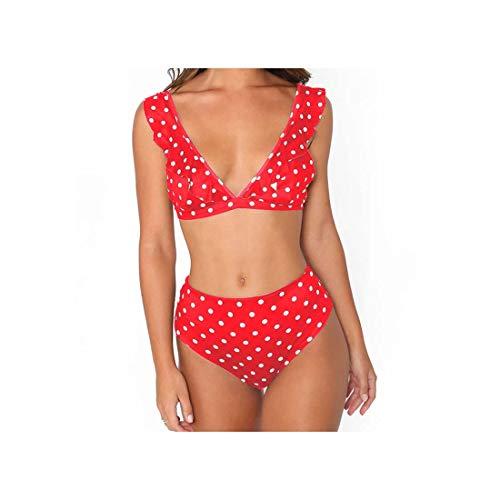 ASILAX& Dot Bikini Set Sexy Bathing Suit Cute Swimwear Women Swimsuit Ruffle Shoulder Brazilian Bikini High Waist Maillot De Bain Gray XL
