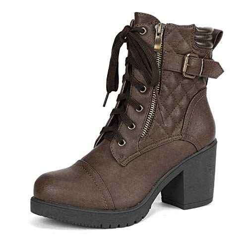 DREAM PAIRS Women's Parka Brown Chunky High Heel Boots Size 10 B(M) US