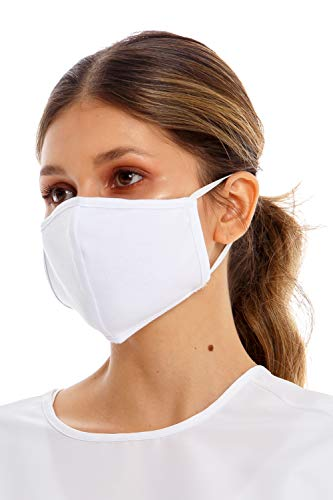 BRONZINI Facial Mask Double Layered with External Anti-fluids Layer Pack of 6 (Elastic Straps, White)