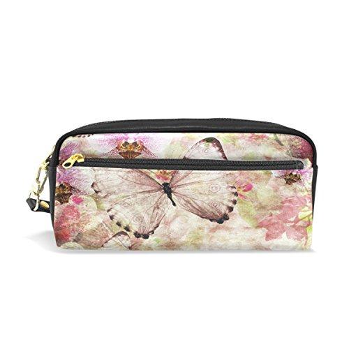 Trousse, papillons orchidées Floral Rose Imprimé Voyage Maquillage Pouch Grande capacité étanche Cuir 2 compartiments pour filles garçons femmes Hommes
