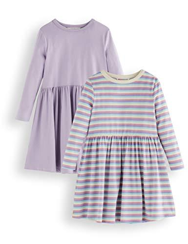 Amazon-Marke: RED WAGON Mädchen Kleid aus Jersey, 2er-Pack, Mehrfarbig (Purple and Stripe), 140, Label:10 Years