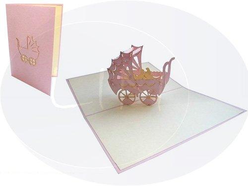 LIN-POP UP 3D Grußkarten Glückwunschkarten Geburtskarten Grußkarten Geburt Babykarten, Kinderwagen Mädchen
