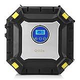Qiilu Compresor de Aire Portátil Coche, Inflador de Neumáticos 12V 100 PSI con Pantalla Digital, Luz LED y 3 Adaptadores de boquillas para Vehículos, motos, bicis, pelotas, objetos hinchables