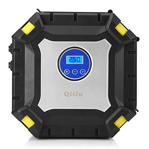 Qiilu 12 V draagbare digitale bandenpomp elektrische luchtcompressor 100 psi voor auto's motorfietsen fietsen trucks RV Bike Ball