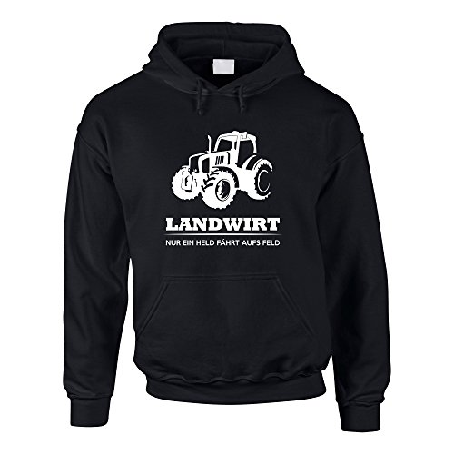 Herren Hoodie - Landwirt - Nur EIN Held fährt aufs Feld - von Shirt Department, schwarz-Weiss, M