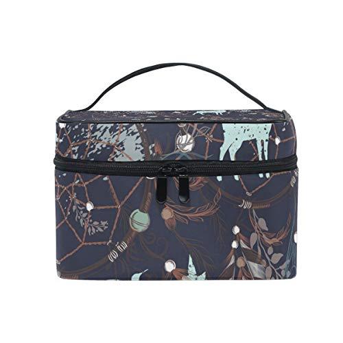 OREZI Tribal Illustration Dreamcatche Travel Makeup CaseKosmetiktasche for Girl Women, Large Capacity and AdjustableMakeup Tasches Travel Waterproof Toiletry Bag Accessories Organizer