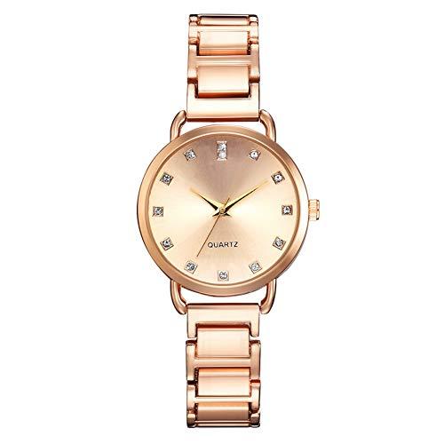 GJHBFUK Reloj De Cuarzo Reloj De Aleación De Moda Reloj De Pulsera De Cuarzo Esfera Redonda Reloj Femenino con Diamantes De Imitación (Oro)