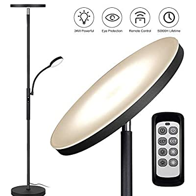 Floor Lamp - Dimunt LED Floor Lamps for Living Room Bright Lighting, 27W/2000LM Main Light and 7W/350LM Side Reading Lamp, Adjustable 3 Colors 3000K/4500K/6000K Tall Lamp with Remote & Touch Control