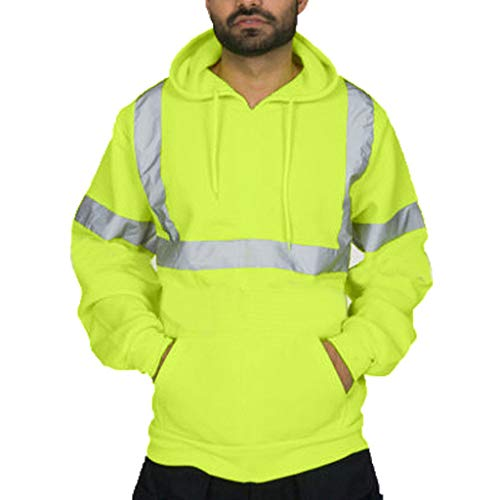 FRAUIT Herren Road Work Hochsichtiger Reflektiertes Licht Kapuzenjacke Langarm-Kapuzenpulli Kapuzenpullover Arbeitskleidung
