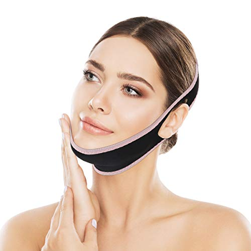 OUTERDO Facial Slimming Strap, Facial Weight Lose Slimmer Device Double Chin Lifting Belt for Women Eliminates Sagging Skin Lifting Firming Anti Aging Breathable Face Shaper Band