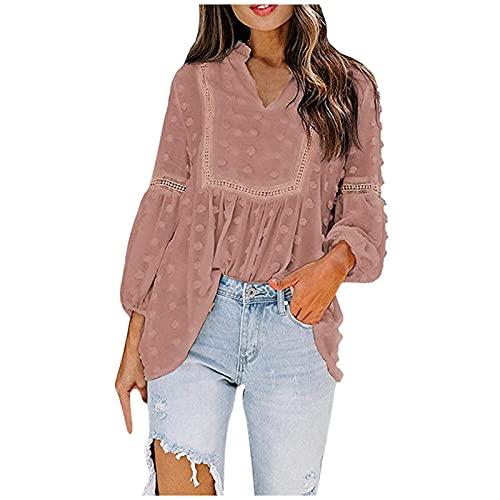 XUEbing Blusas y tops para mujer de manga larga para el trabajo, de gasa, manga larga, cuello en V, camisas sueltas informales, rosa, XL