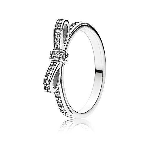 12 Anillos de Plata clásicos de Estilo con Corona de Lazo de Oro Rosa Daisy Crystal Wedding & Party Ring para Mujeres Regalo de joyería, 9, R21