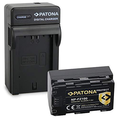 PATONA Caricabatteria con NP-FZ100 Protect V1 Batteria compatibile con Sony Alpha 6600, A9, A9 II, A7R III, A7 RIV