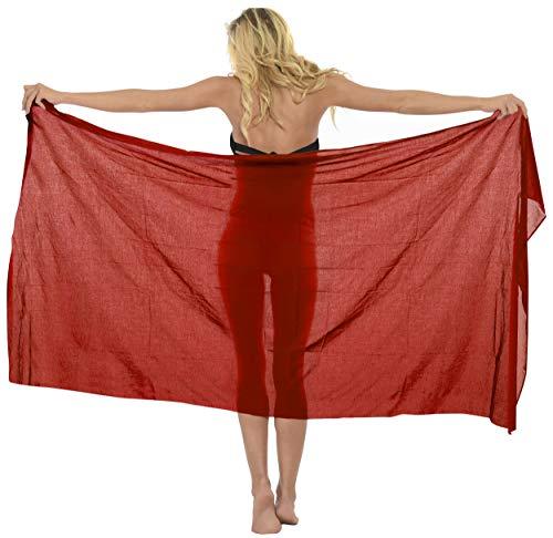"""LA LEELA Badeanzug Strandtuch Tuch Wickeltuch Handtuch Sarong Pareo Wickelrock Schließe Strandkleidung Rubin Rot_E326 eine Größe: Länge: 72\"""" Breite: 42\"""""""