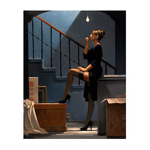 A&D Tänzerin Für Geld Poster Malerei Jack Vettriano Leinwand Malerei Dekoration Grafik Kunstwerk für Wohnzimmer Poster-60x80 cm Kein Rahmen