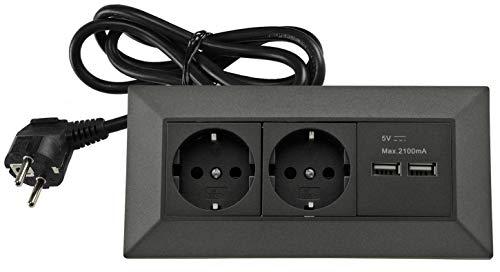 Steckdosenblock Ecksteckdose 2-fach + 2 USB mit 1,5m Kabel Vormontiert 230V Wand Aufbau & Eck-Montage für Arbeitsplatte Küche Werkstatt Anthrazit