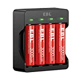 EBL 4 Pack of Rechargeable AA Lithium Battery with Smart Battery Charger for Rechargeable Li-ion AA Batteries