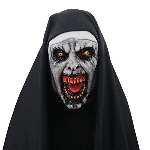WWWL máscara Halloween Masquerade Máscara Halloween Fantasma Festival de Terror Película de miedo Mujer Fantasma Cara Headgear Monja Máscara Serie Halloween Monja Máscara A