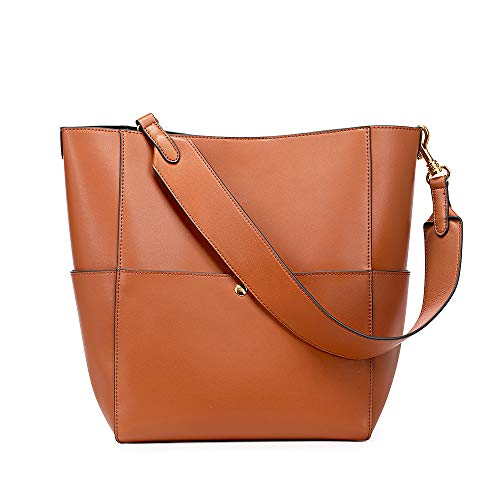 Top Quality: Smooth nappa genuine split leather shoulder bag; Golden metal hardware, wear-resistant microfiber lining Structure: Open top with magnetic closure. Exterior with 2 metal magnetic pockets and 2 side slip pockets. (front and back); Interio...