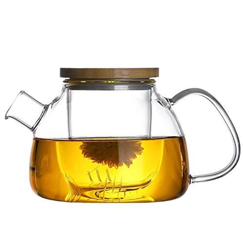 Teteras teapot Tetera de cristal clara de la caldera con Infusor y bambú Tapa anafe calor seguro borosilicato resistente jarra de jugo de la hoja del pote del té de hierbas té botella de agua de la ja